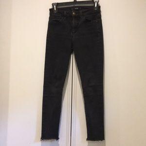 Joe's Jeans Faded Gray Raw Hem Skinny Jeans Sz 25